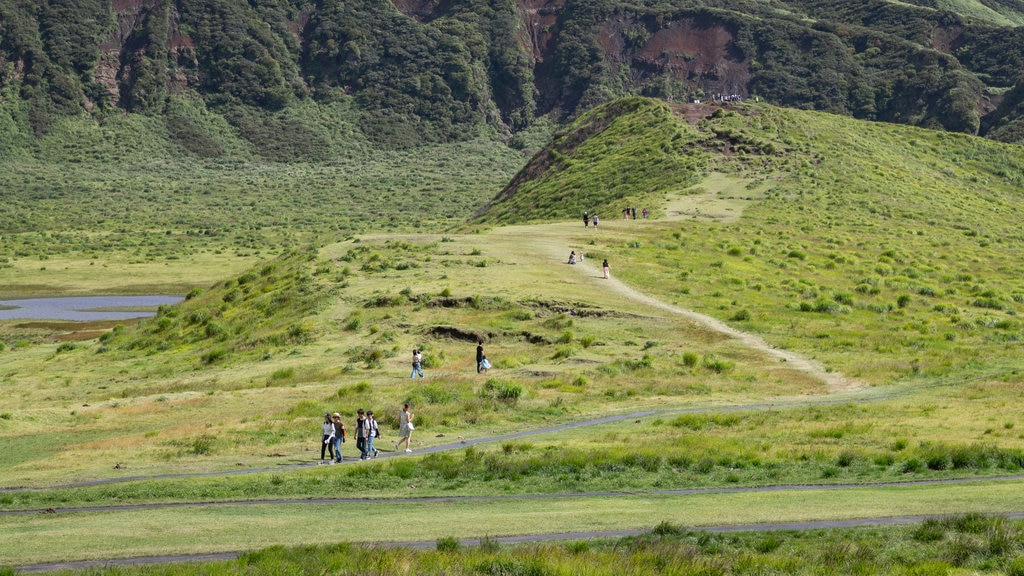 Mount Aso showing landscape views, tranquil scenes and hiking or walking