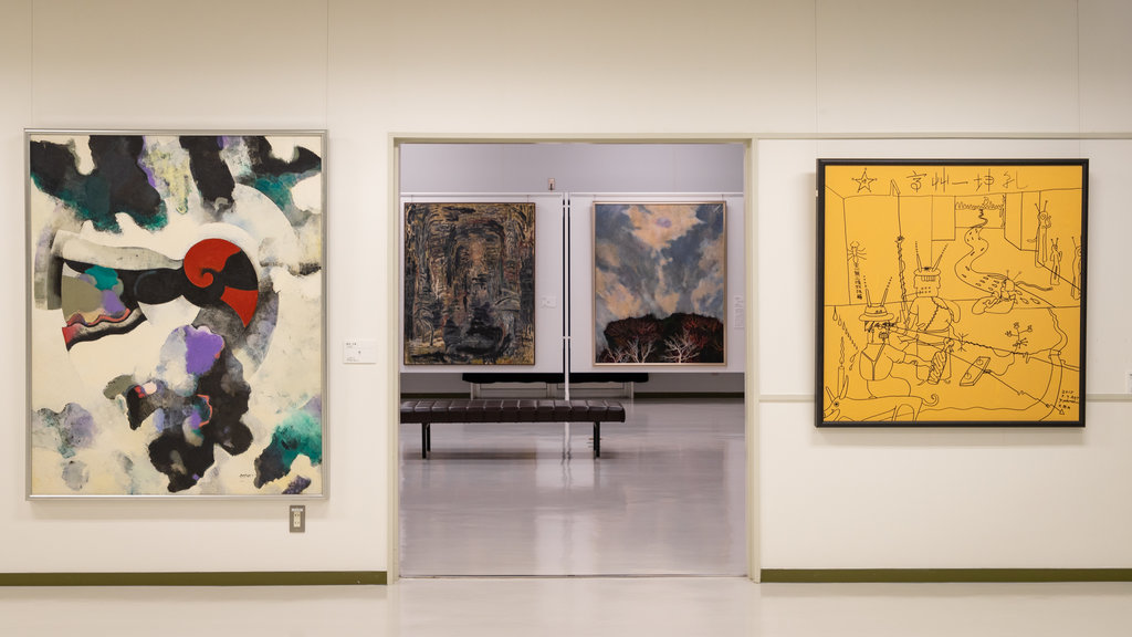 Beppu Art Museum showing interior views and art