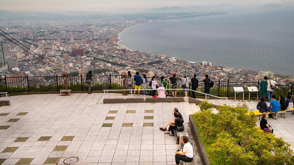 Telecabina de Hakodate que incluye vistas, vistas de paisajes y una ciudad costera