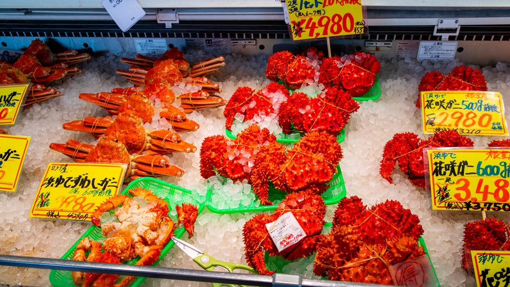 Sapporo Crab Market showing food, signage and markets