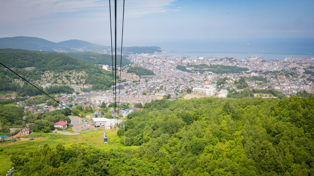 Otaru Tenguyama Ropeway which includes a coastal town, landscape views and a gondola