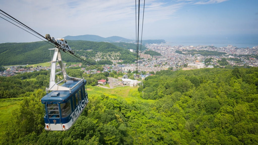 Otaru Tenguyama Ropeway featuring landscape views, a coastal town and a gondola