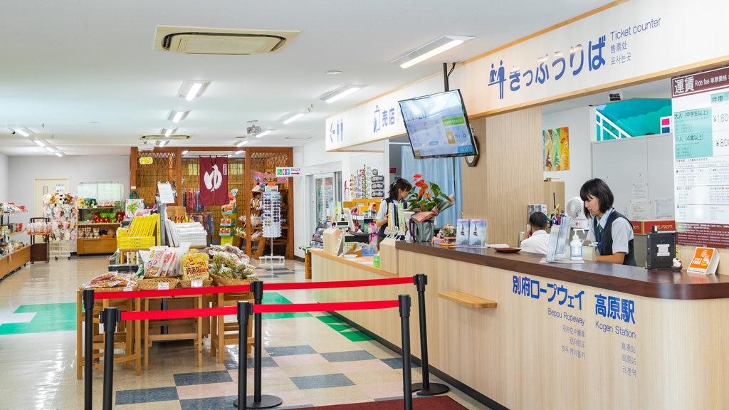Kintetsu Beppu Ropeway featuring interior views as well as an individual femail