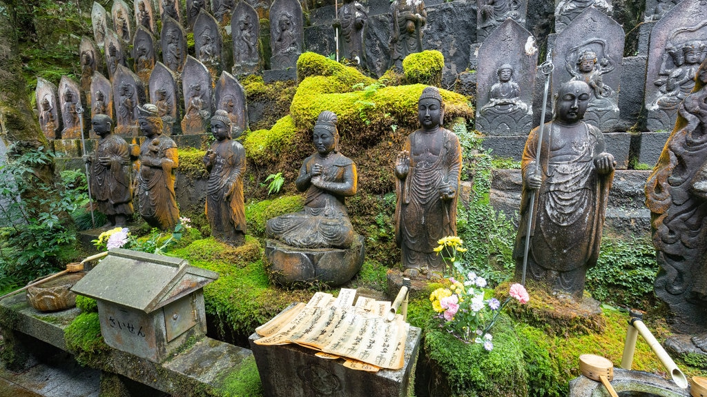 Mitaki-dera showing heritage elements, a statue or sculpture and a park