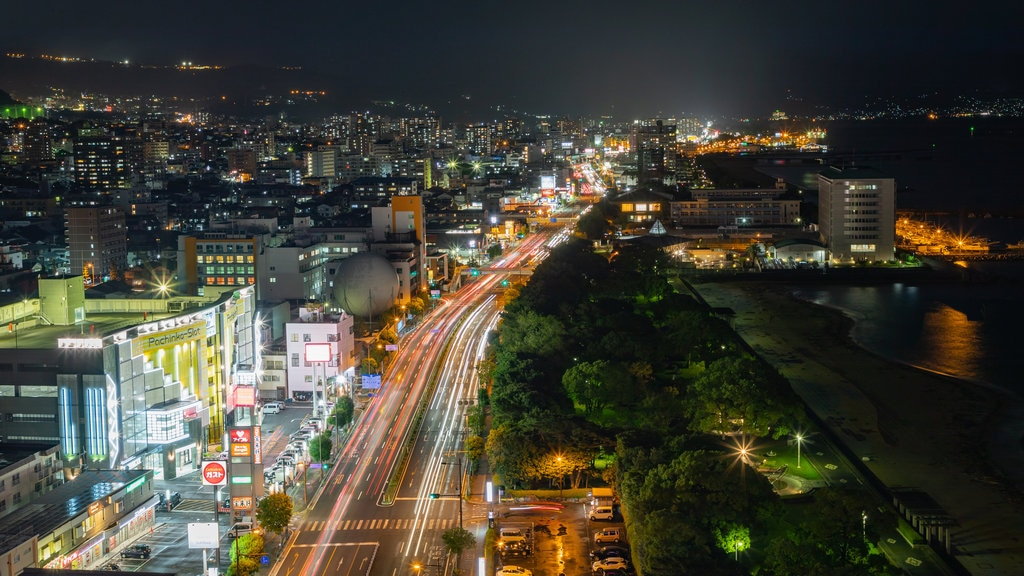 Beppu Tower featuring landscape views, a city and night scenes