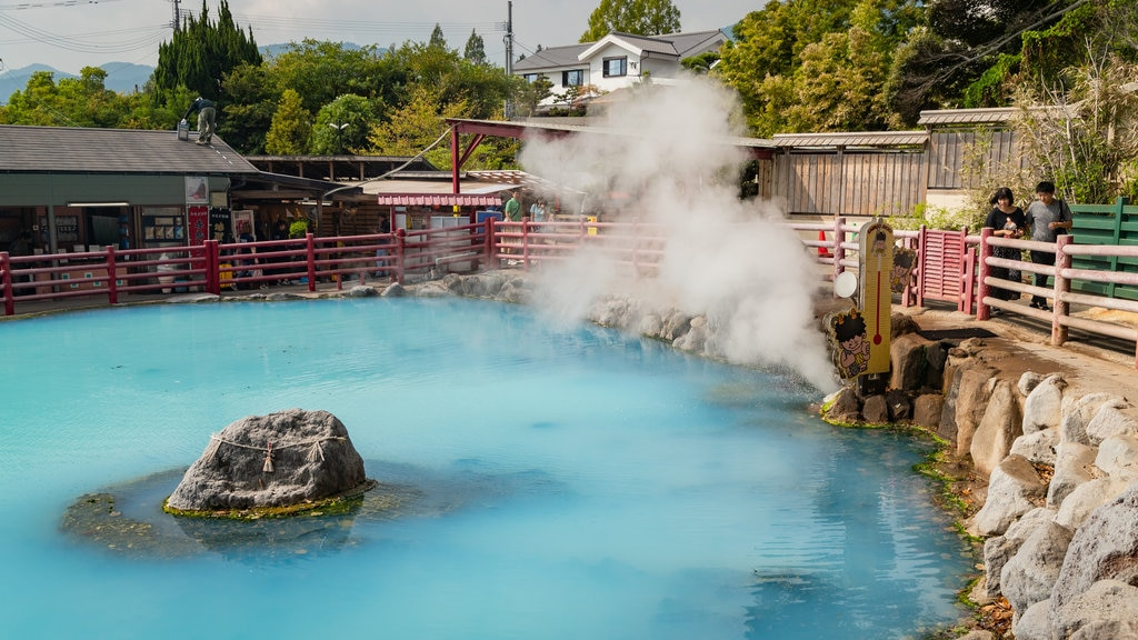 Beppu which includes mist or fog and a hot spring