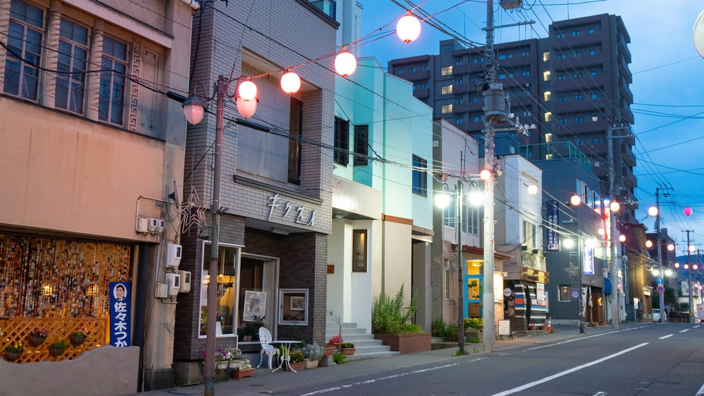 Nichigin-dōri which includes street scenes and night scenes