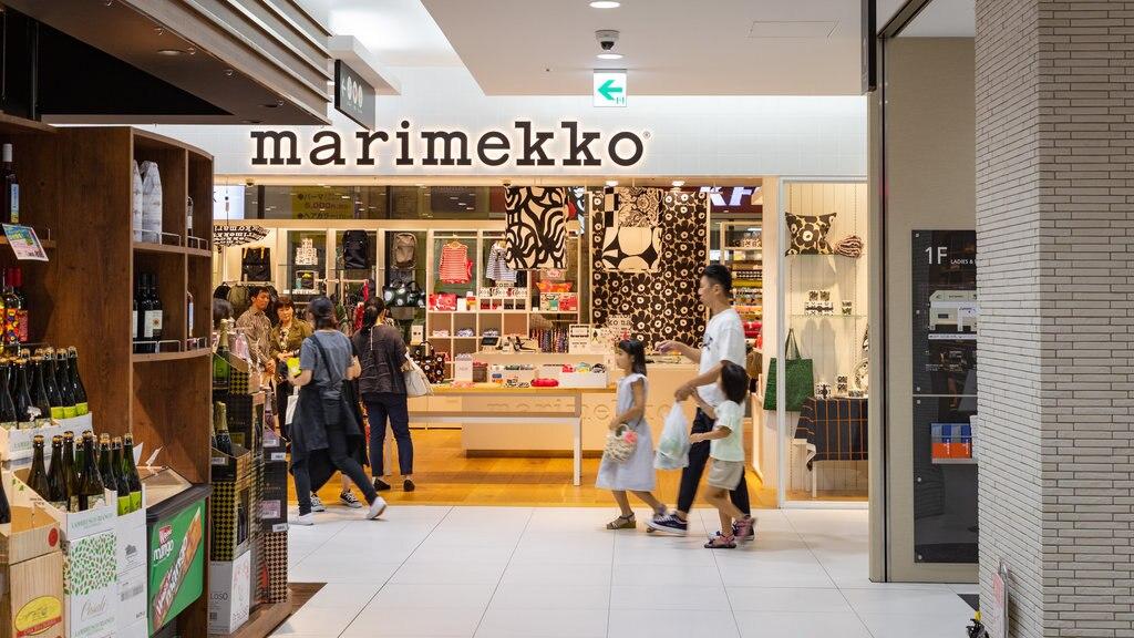 Hamanomachi Arcade showing interior views, shopping and signage