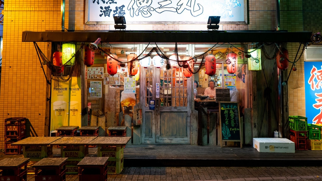 Narita featuring night scenes and signage