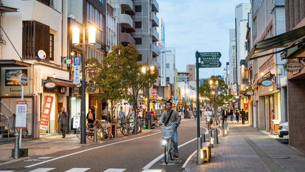 Matsuyama showing road cycling, a city and street scenes
