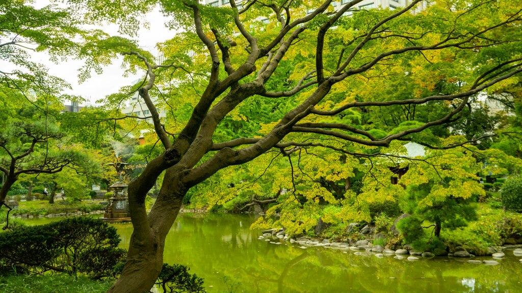 Hibiya Park featuring a pond