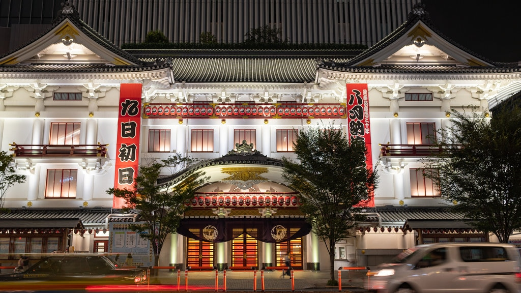 Kabuki-za Theatre showing heritage elements and night scenes