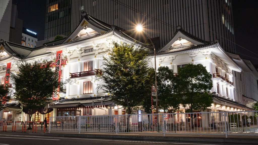 Kabuki-za Theatre showing a city, heritage elements and night scenes