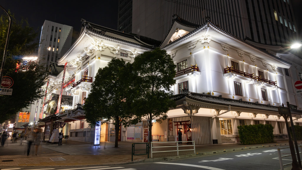 Kabuki-za Theatre featuring night scenes and heritage elements