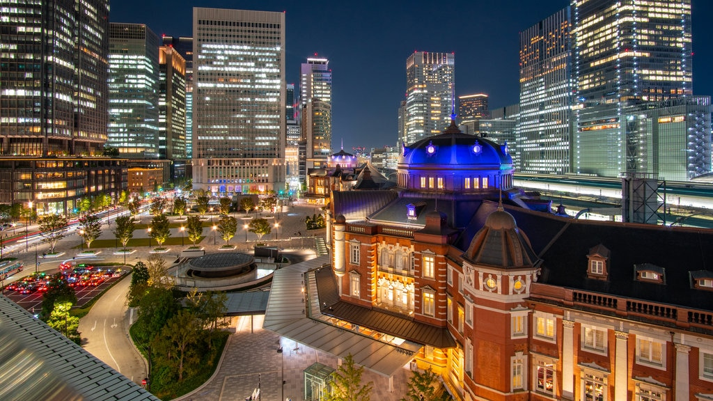 Ginza featuring landscape views, night scenes and a city