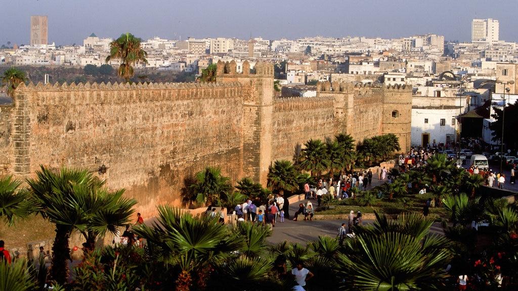 San Juan de Dios showing landscape views, heritage architecture and a city