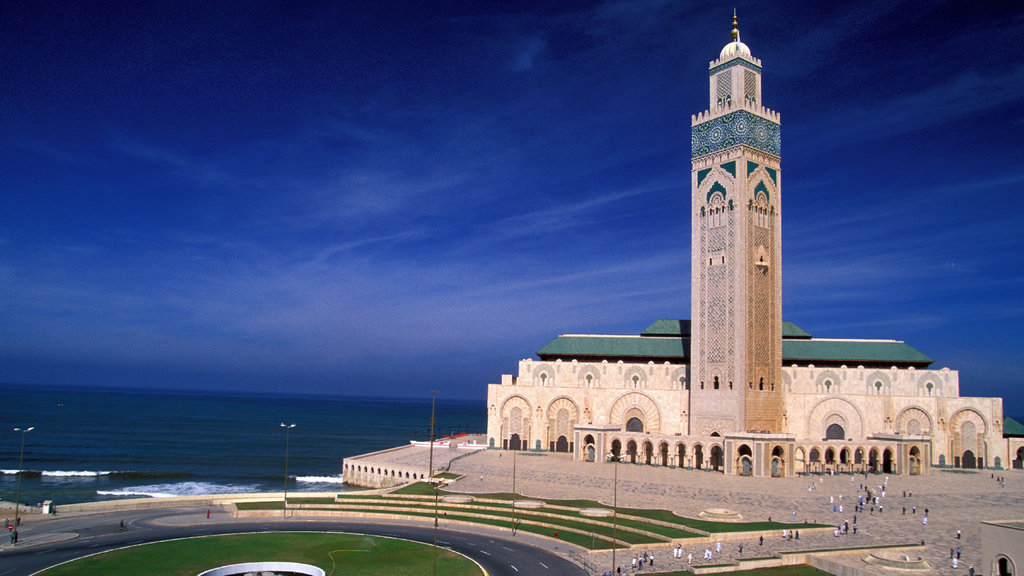 Hassan II Mosque showing general coastal views, night scenes and heritage architecture