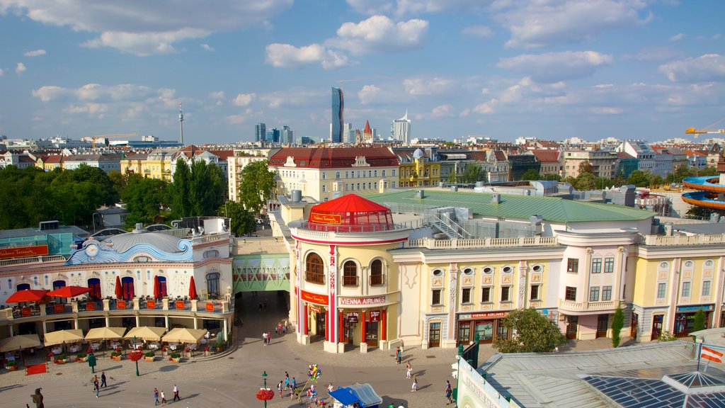 Wiener Prater which includes landscape views, a city and a square or plaza