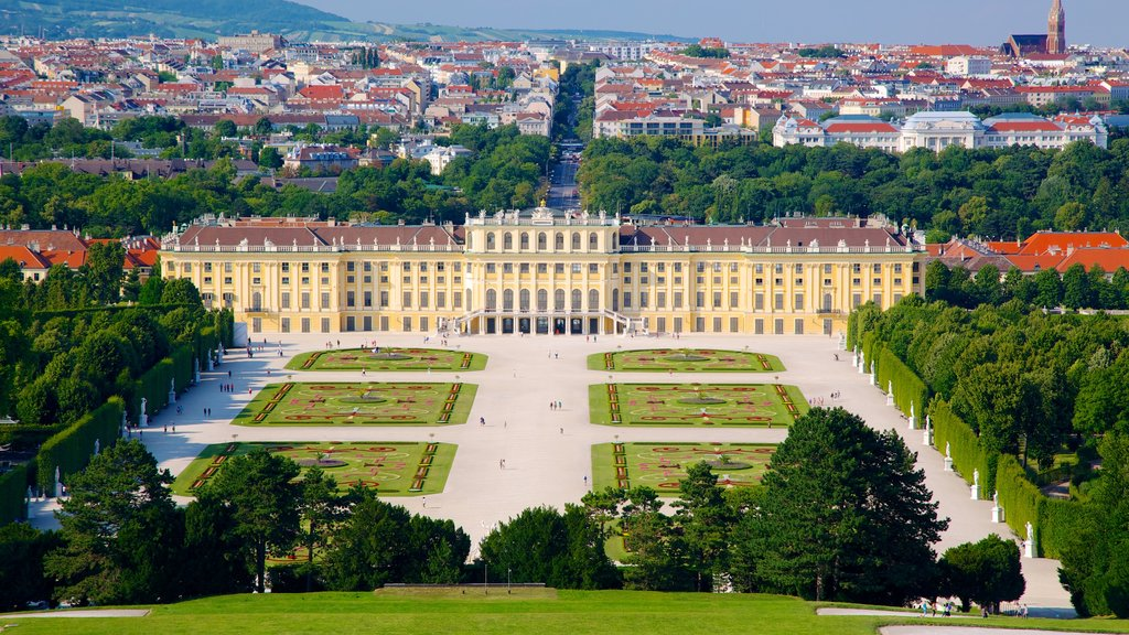 Schoenbrunn Palace showing landscape views, a square or plaza and heritage architecture