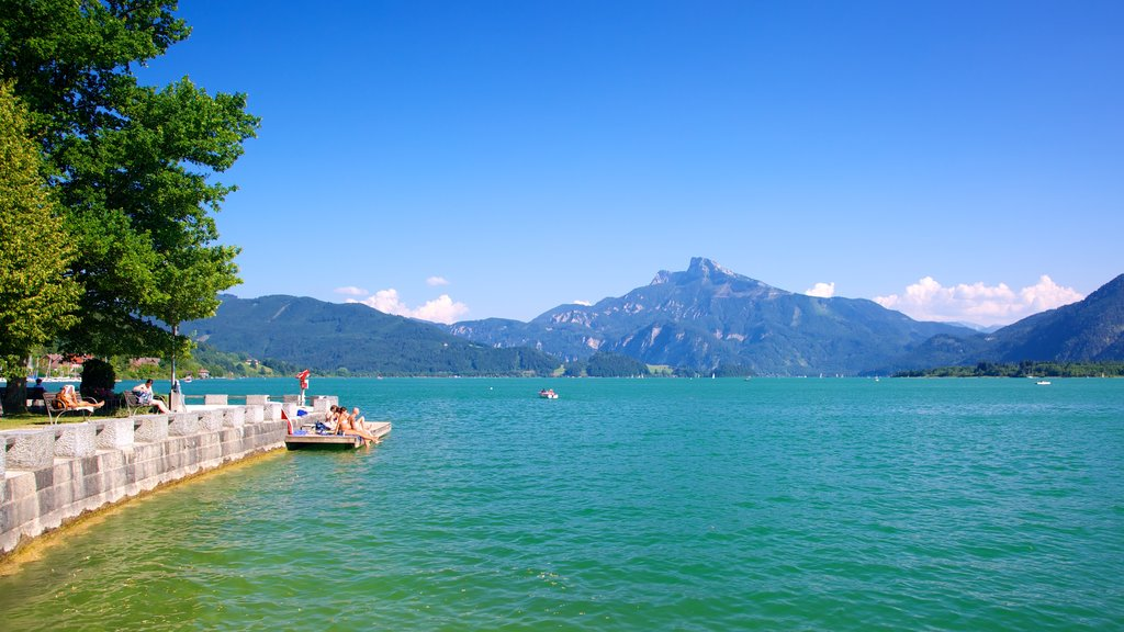 Mondsee which includes a lake or waterhole, landscape views and mountains