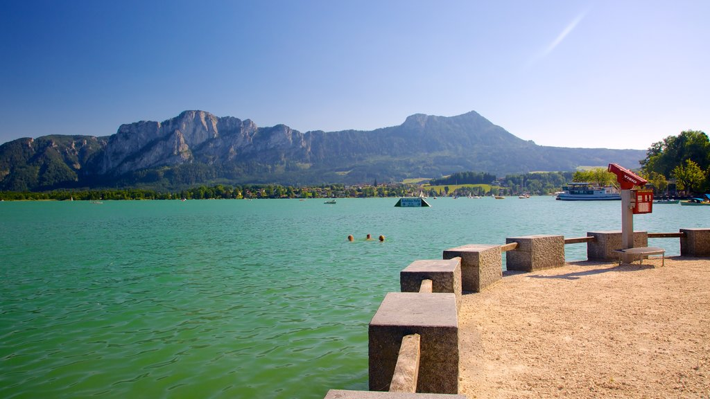 Mondsee showing landscape views, mountains and swimming