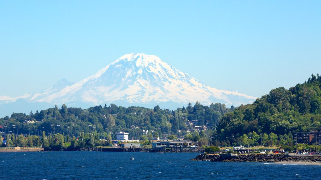 Seattle which includes mountains, a bay or harbor and general coastal views