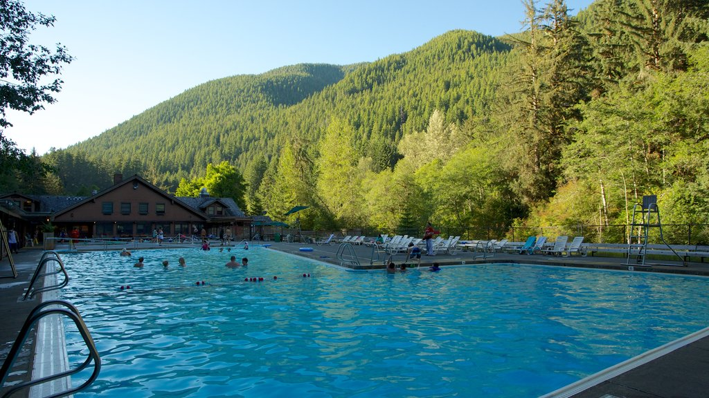 Sol Duc Falls which includes a luxury hotel or resort, swimming and a pool