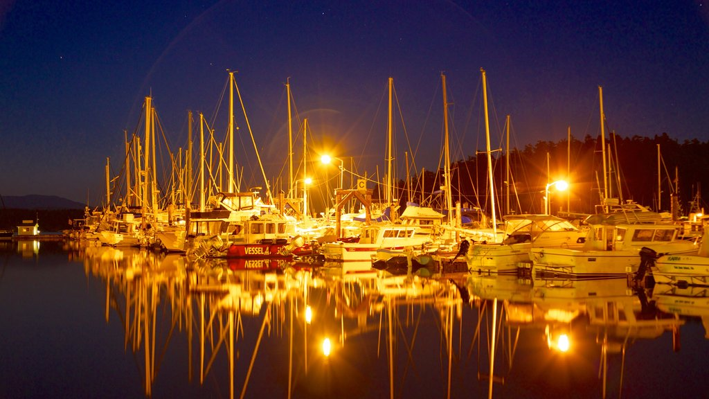 San Juan Island showing night scenes, a marina and sailing