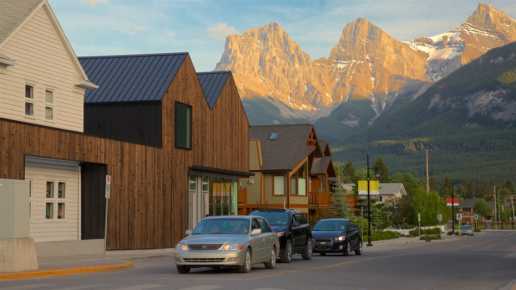 Canmore which includes a small town or village and mountains