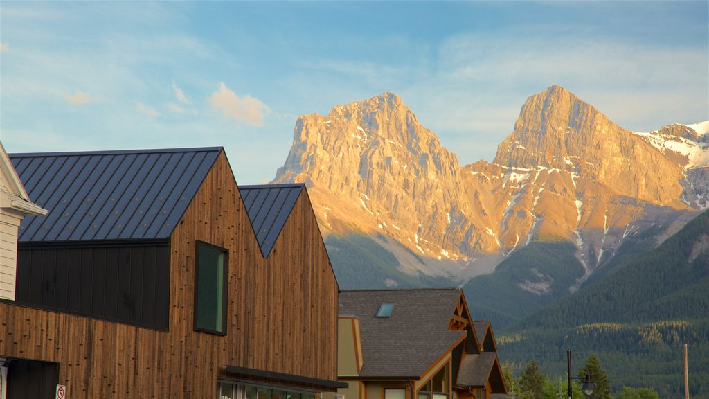 Canmore which includes mountains and a small town or village