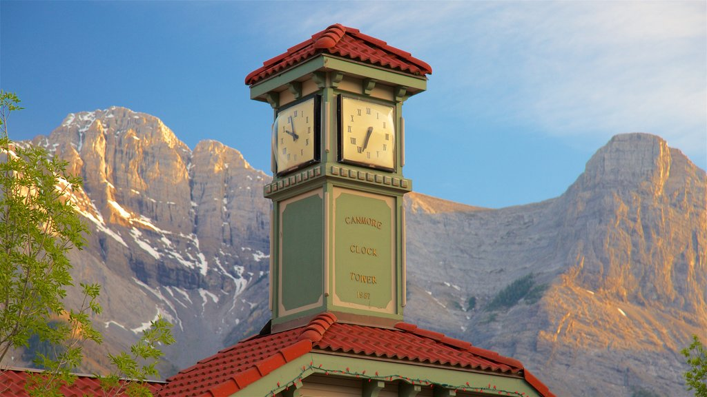 Canmore showing heritage elements and mountains