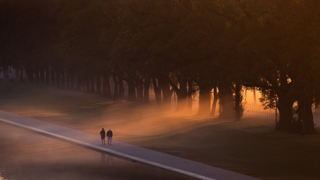 National Mall featuring a garden, mist or fog and a sunset