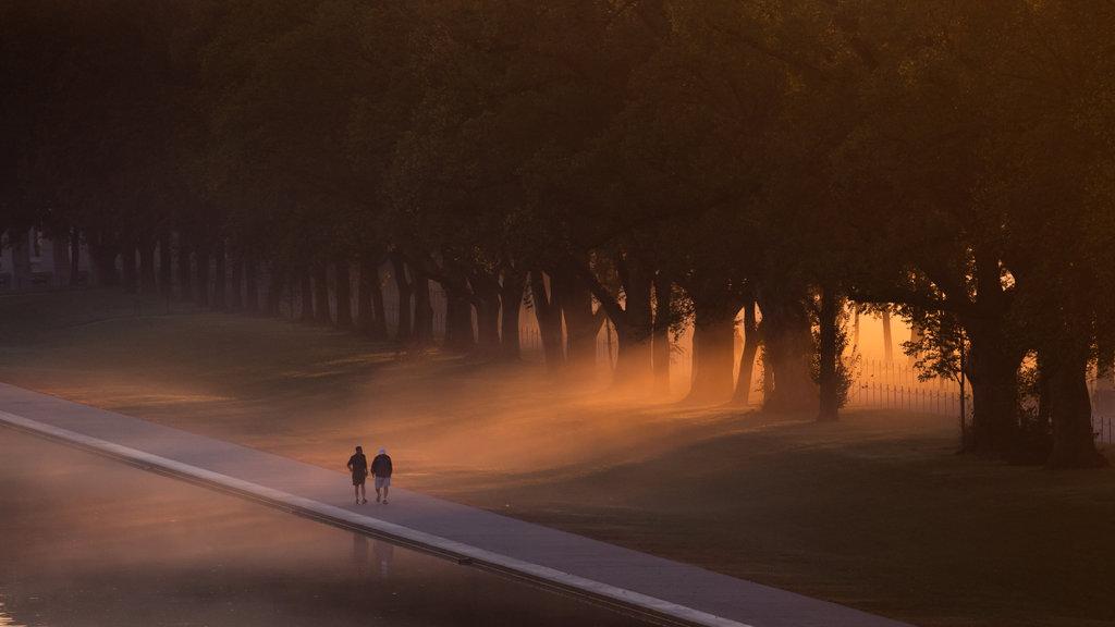Explanada Nacional mostrando una puesta de sol, un parque y neblina o niebla