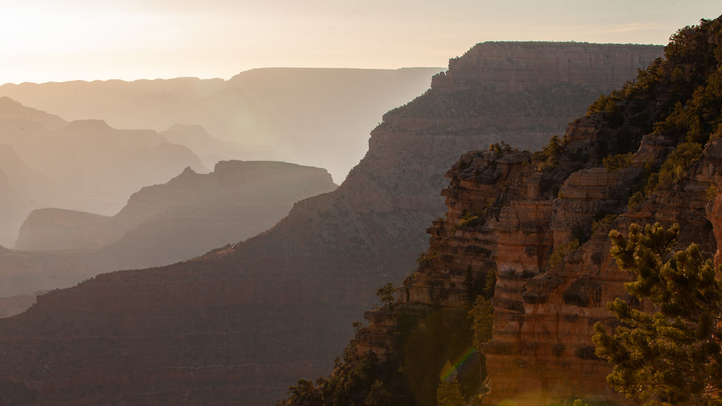 Grand Canyon which includes landscape views, a gorge or canyon and a sunset