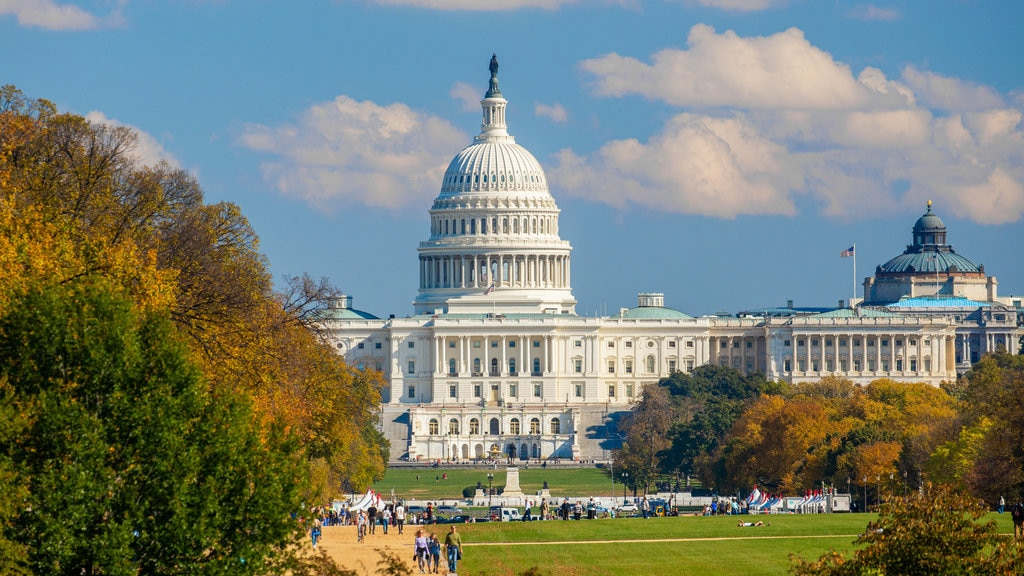 United States Capitol showing heritage architecture and an administrative buidling