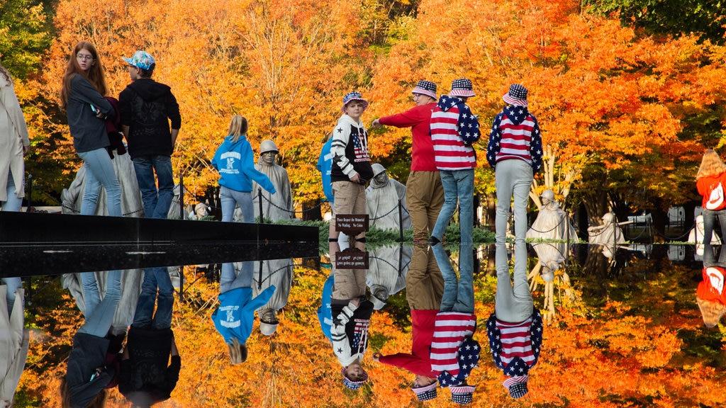 Monumento a los Veteranos de la Guerra de Corea mostrando hojas de otoño y también un pequeño grupo de personas