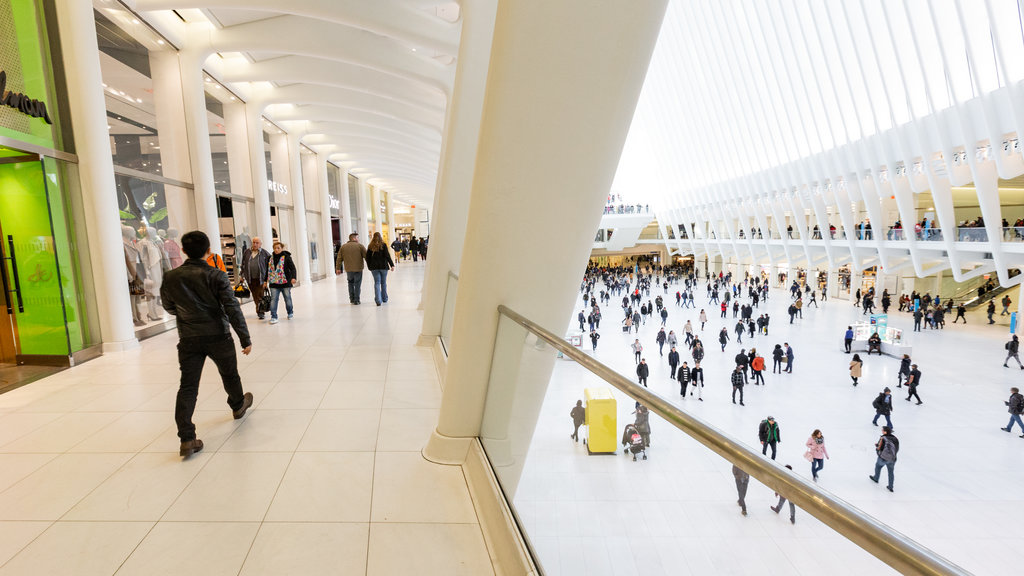 The Oculus showing interior views and shopping as well as a large group of people