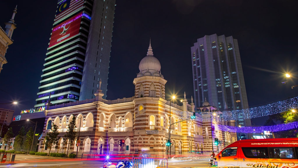 Merdeka Square featuring heritage architecture, a city and night scenes