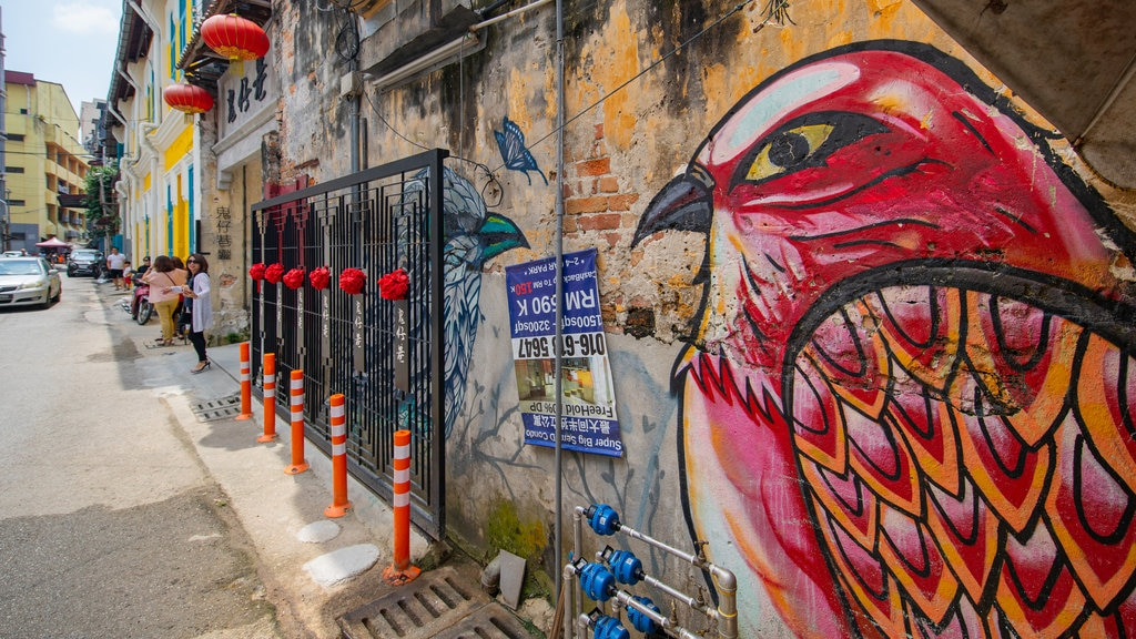 Chinatown featuring outdoor art and street scenes