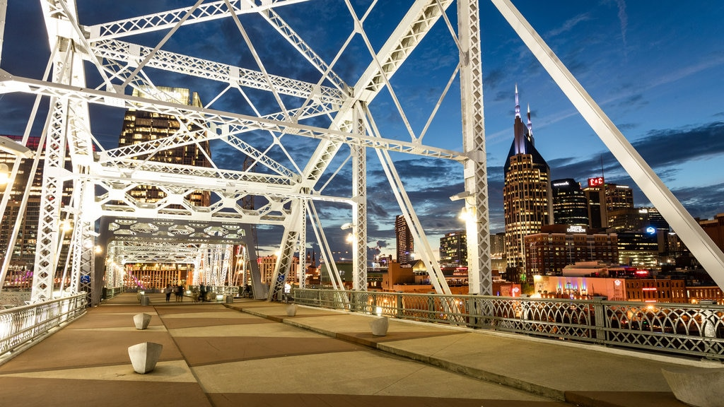 Central Tennessee featuring a city, a bridge and night scenes