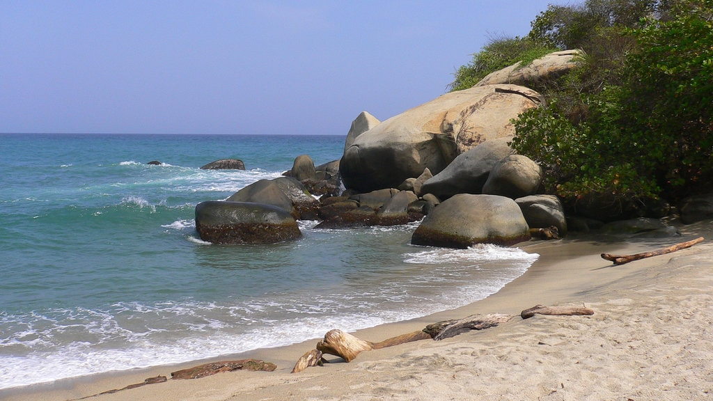 Tayrona National Natural Park which includes rugged coastline, a beach and general coastal views