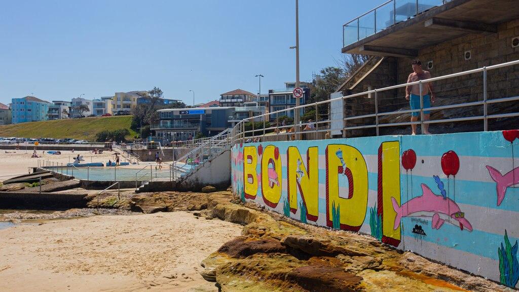 Bondi Beach featuring a beach and outdoor art