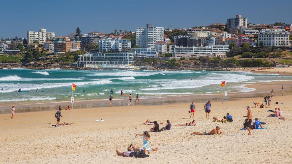 Bondi Beach which includes general coastal views, a sandy beach and a coastal town