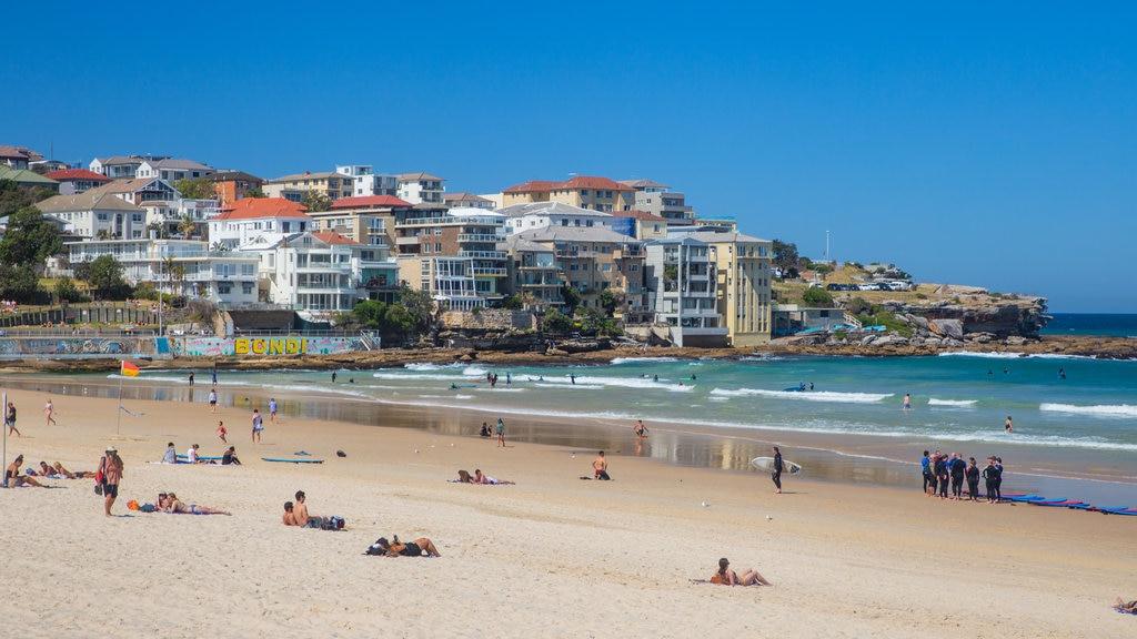 Bondi Beach featuring general coastal views, a coastal town and a sandy beach