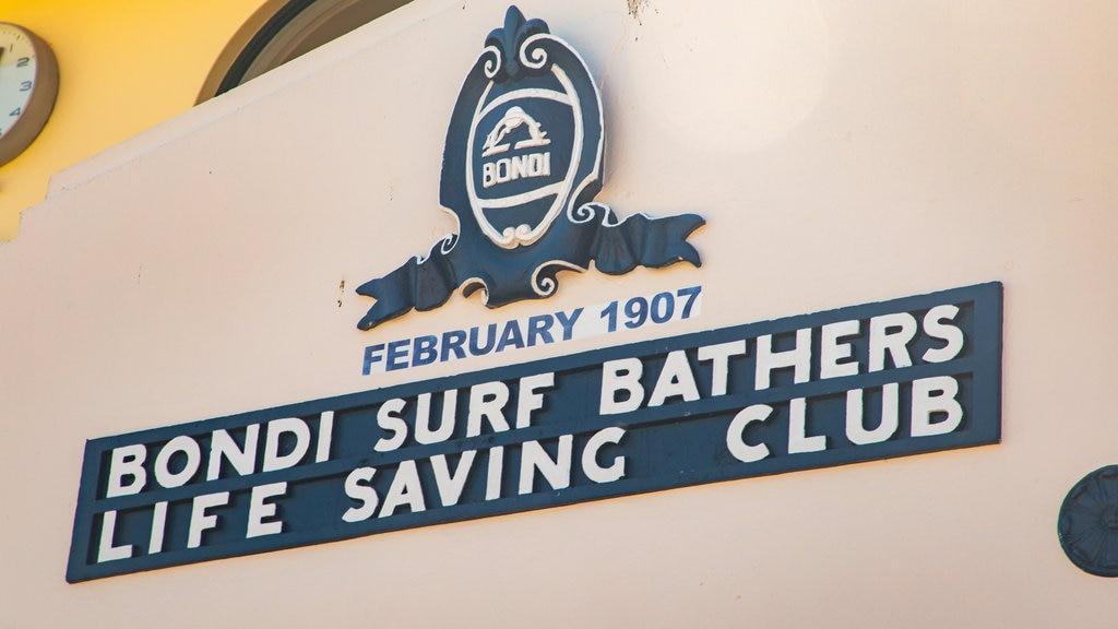 Bondi Beach featuring signage