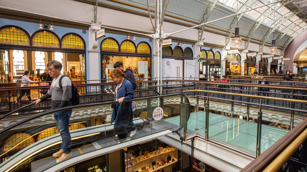 Queen Victoria Building showing shopping and interior views as well as a small group of people