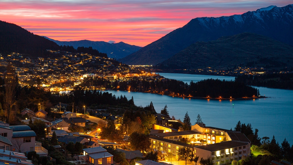 South Island featuring night scenes, a bay or harbor and a sunset