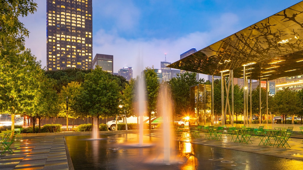Klyde Warren Park showing night scenes and a fountain