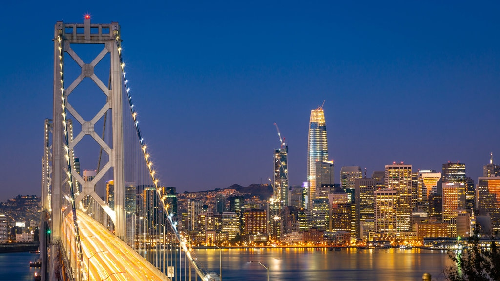Bay Area which includes a bridge, night scenes and a city