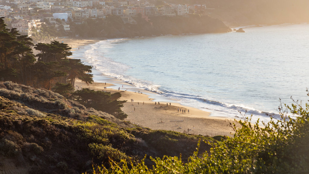 San Francisco which includes general coastal views, a beach and a sunset